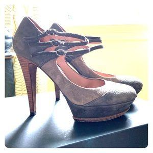 Pura Lopez 3 strap suede heels
